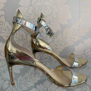 Sophia Webster Metallic Gold & Silver Patent Leather Sandal Heels